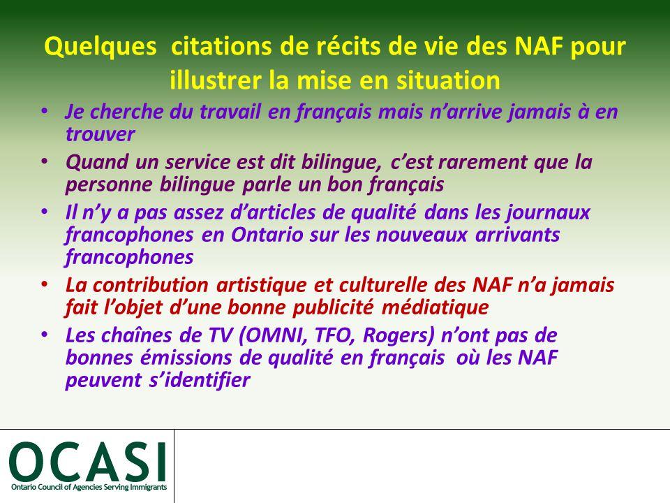 Quelques citations de récits de vie des NAF pour illustrer la mise en situation Je cherche du travail en français mais n'arrive jamais à en trouver Quand un service est dit bilingue, c'est rarement que la personne bilingue parle un bon français Il n'y a pas assez d'articles de qualité dans les journaux francophones en Ontario sur les nouveaux arrivants francophones La contribution artistique et culturelle des NAF n'a jamais fait l'objet d'une bonne publicité médiatique Les chaînes de TV (OMNI, TFO, Rogers) n'ont pas de bonnes émissions de qualité en français où les NAF peuvent s'identifier