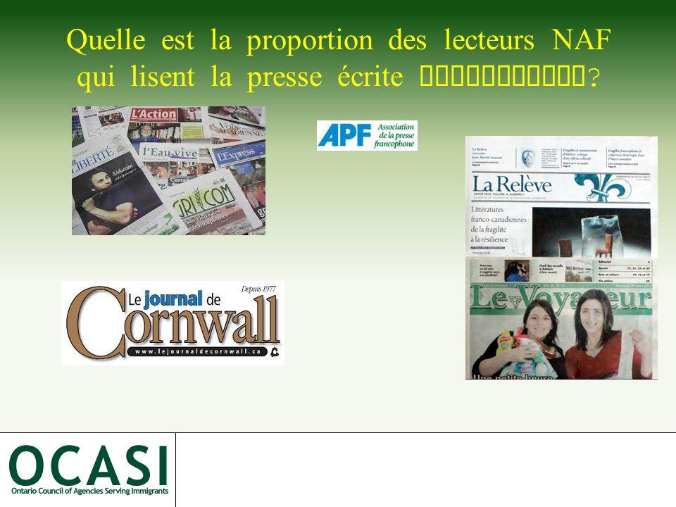 Quelle est la proportion des lecteurs NAF qui lisent la presse écrite francophone ?