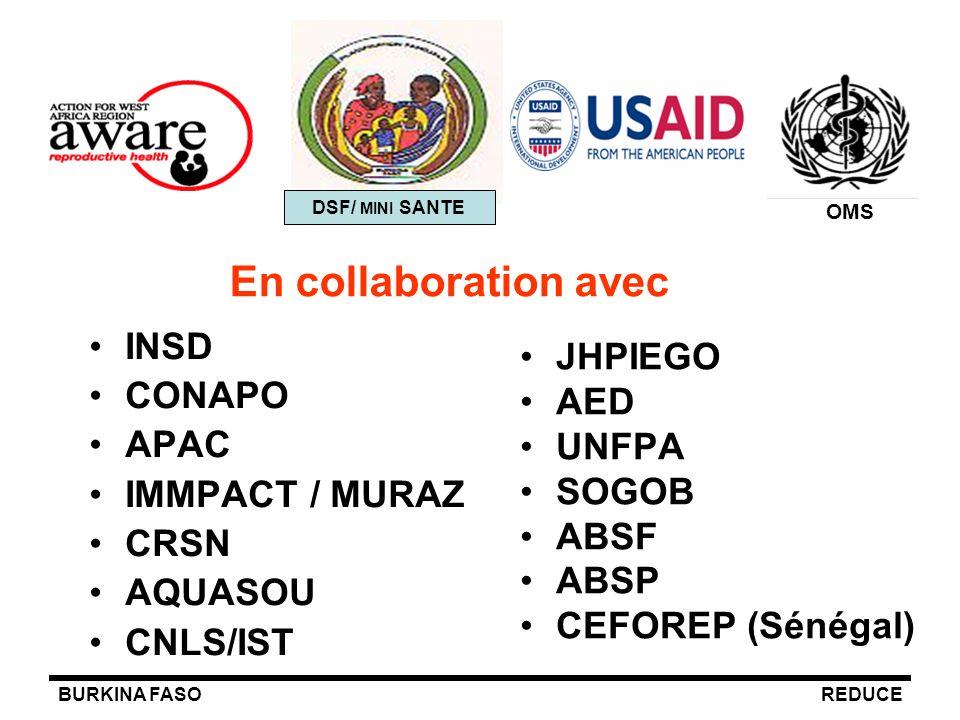 BURKINA FASOREDUCE En collaboration avec INSD CONAPO APAC IMMPACT / MURAZ CRSN AQUASOU CNLS/IST JHPIEGO AED UNFPA SOGOB ABSF ABSP CEFOREP (Sénégal) DS