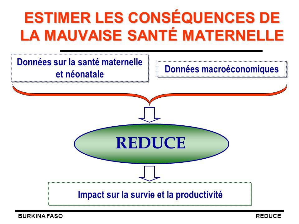 BURKINA FASOREDUCE Données sur la santé maternelle et néonatale ESTIMER LES CONSÉQUENCES DE LA MAUVAISE SANTÉ MATERNELLE Impact sur la survie et la pr
