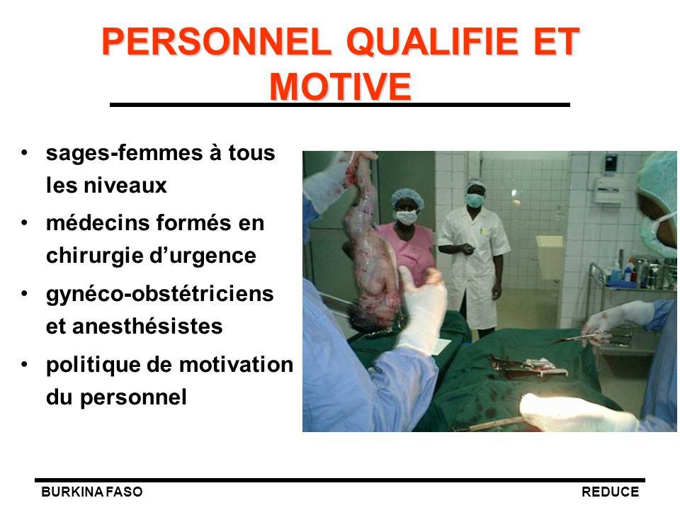 BURKINA FASOREDUCE PERSONNEL QUALIFIE ET MOTIVE sages-femmes à tous les niveaux médecins formés en chirurgie d'urgence gynéco-obstétriciens et anesthé