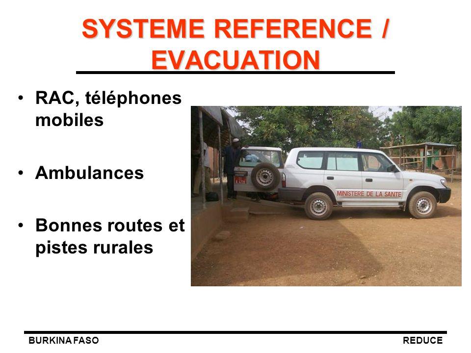 BURKINA FASOREDUCE SYSTEME REFERENCE / EVACUATION RAC, téléphones mobiles Ambulances Bonnes routes et pistes rurales