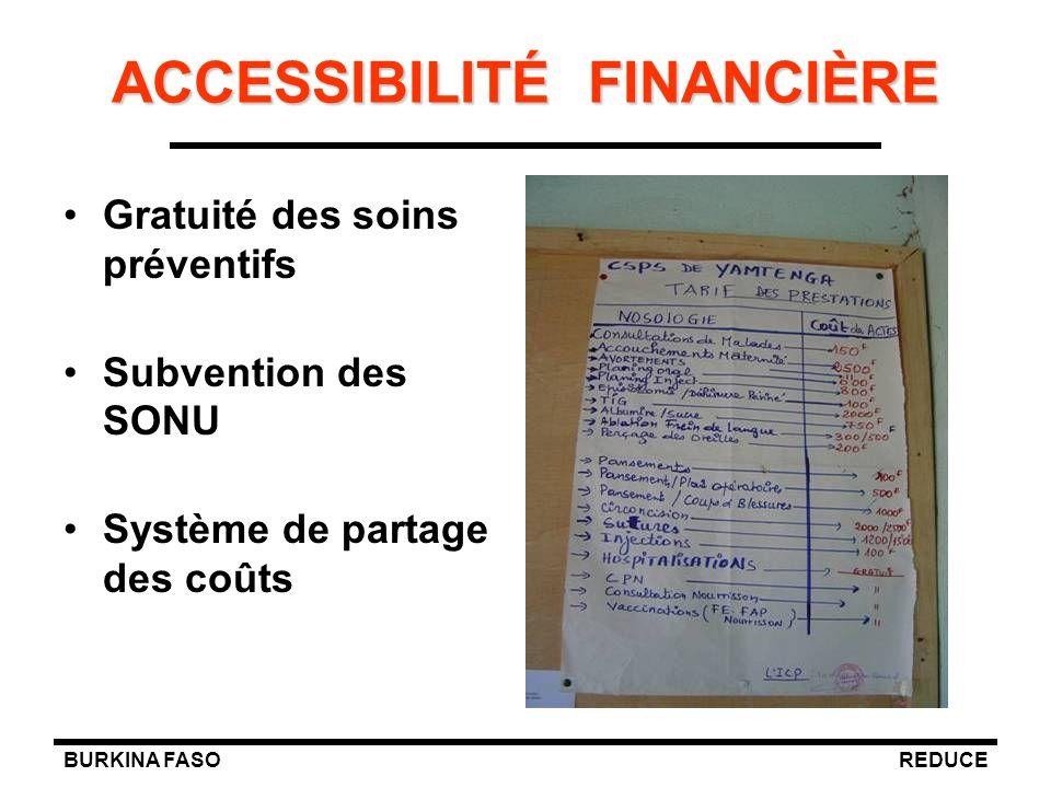 BURKINA FASOREDUCE ACCESSIBILITÉ FINANCIÈRE Gratuité des soins préventifs Subvention des SONU Système de partage des coûts