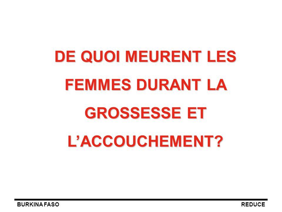 BURKINA FASOREDUCE DE QUOI MEURENT LES FEMMES DURANT LA GROSSESSE ET L'ACCOUCHEMENT?