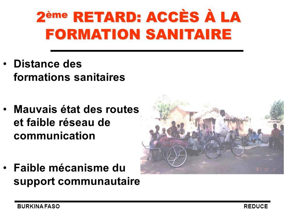 BURKINA FASOREDUCE 2 ème RETARD: ACCÈS À LA FORMATION SANITAIRE Distance des formations sanitaires Mauvais état des routes et faible réseau de communi