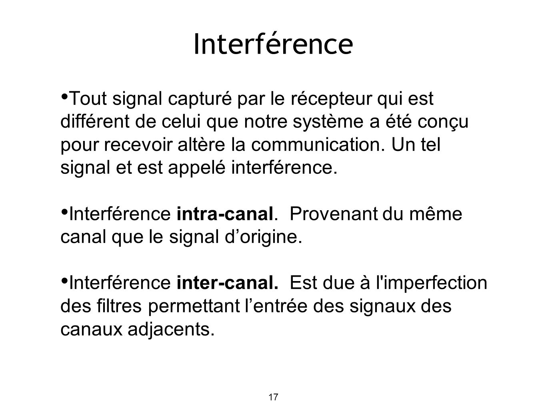 17 Interférence Tout signal capturé par le récepteur qui est différent de celui que notre système a été conçu pour recevoir altère la communication.