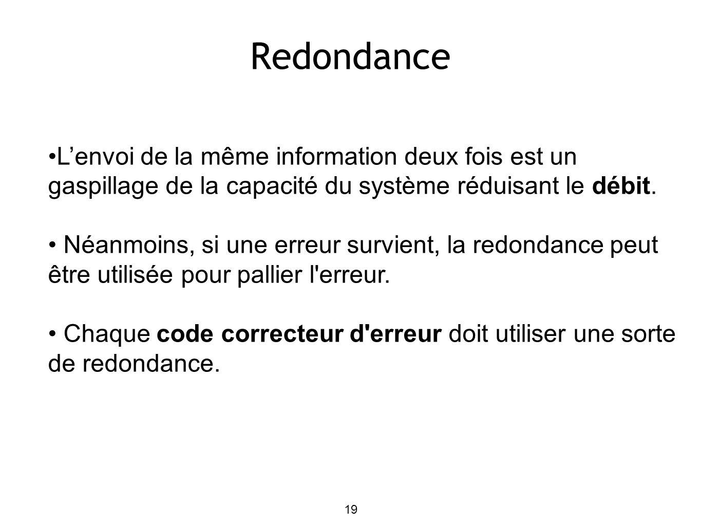 19 Redondance L'envoi de la même information deux fois est un gaspillage de la capacité du système réduisant le débit.