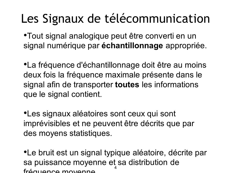4 Les Signaux de télécommunication Tout signal analogique peut être converti en un signal numérique par échantillonnage appropriée.