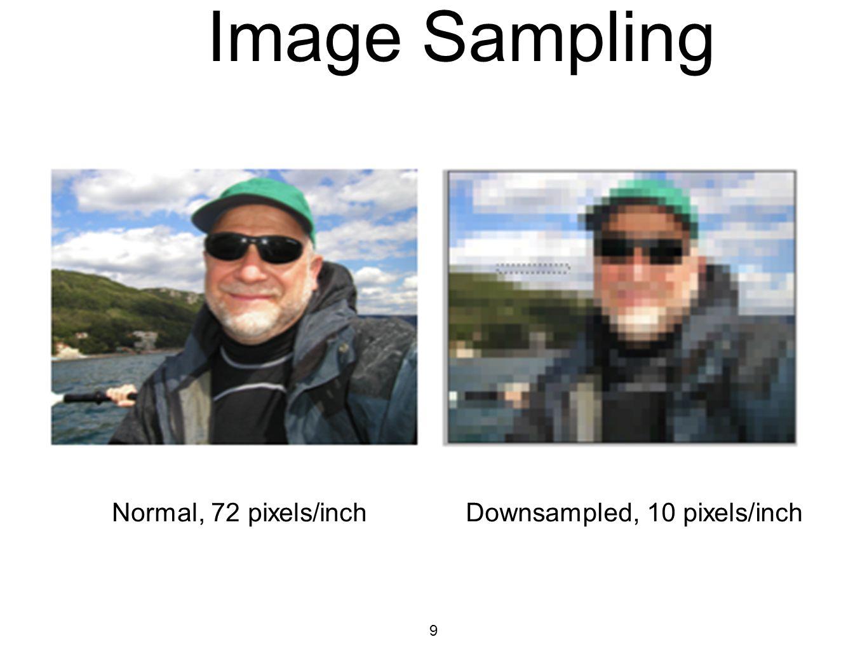 9 Image Sampling Normal, 72 pixels/inchDownsampled, 10 pixels/inch