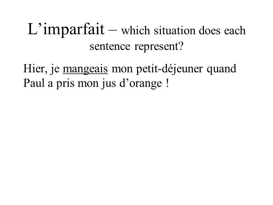 L'imparfait – which situation does each sentence represent? Hier, je mangeais mon petit-déjeuner quand Paul a pris mon jus d'orange !