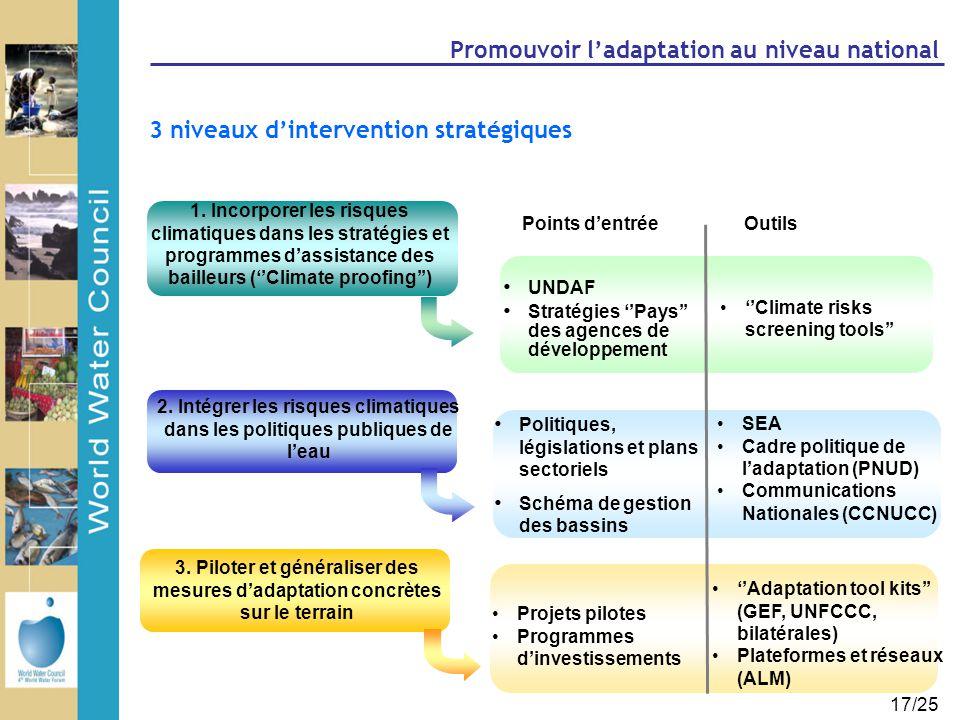 17/25 Promouvoir l'adaptation au niveau national 3. Piloter et généraliser des mesures d'adaptation concrètes sur le terrain 1. Incorporer les risques