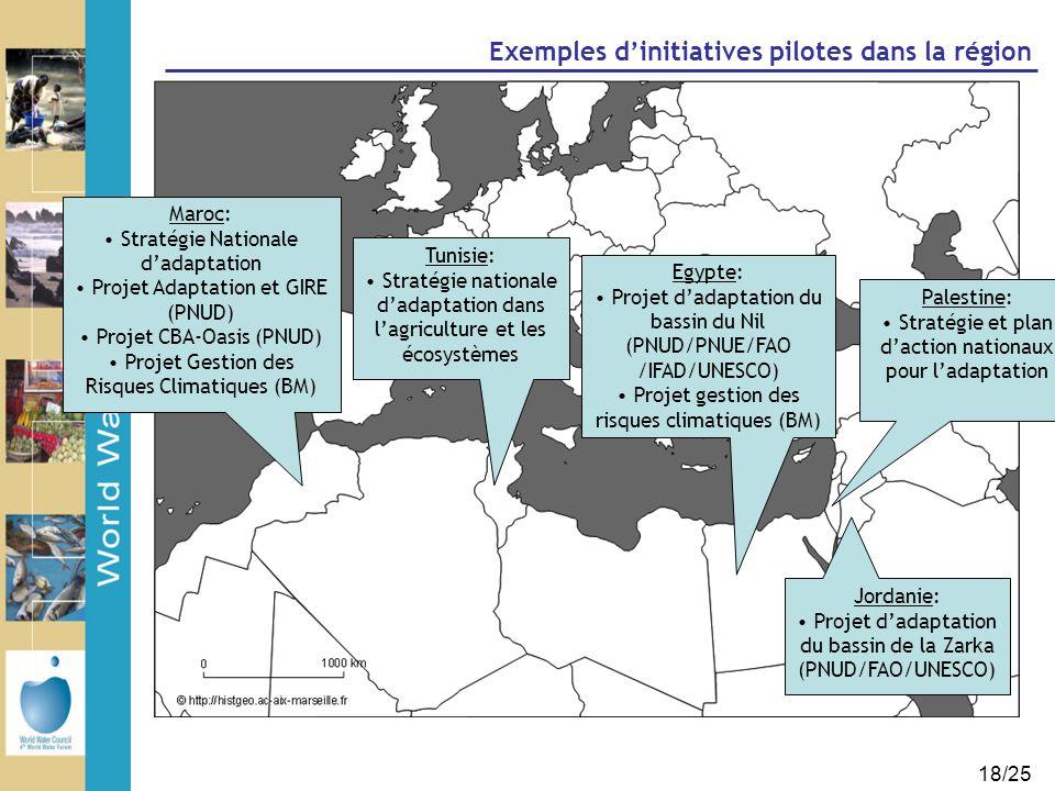 18/25 Exemples d'initiatives pilotes dans la région Maroc: Stratégie Nationale d'adaptation Projet Adaptation et GIRE (PNUD) Projet CBA-Oasis (PNUD) P