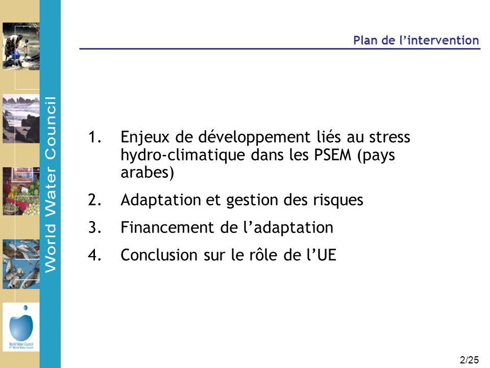 2/25 Plan de l'intervention 1.Enjeux de développement liés au stress hydro-climatique dans les PSEM (pays arabes) 2.Adaptation et gestion des risques