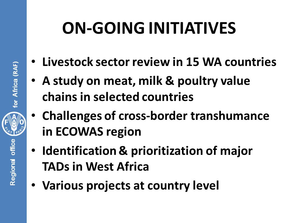 Regional office for Africa (RAF) ON-GOING INITIATIVES Livestock sector review in 15 WA countries A study on meat, milk & poultry value chains in selec