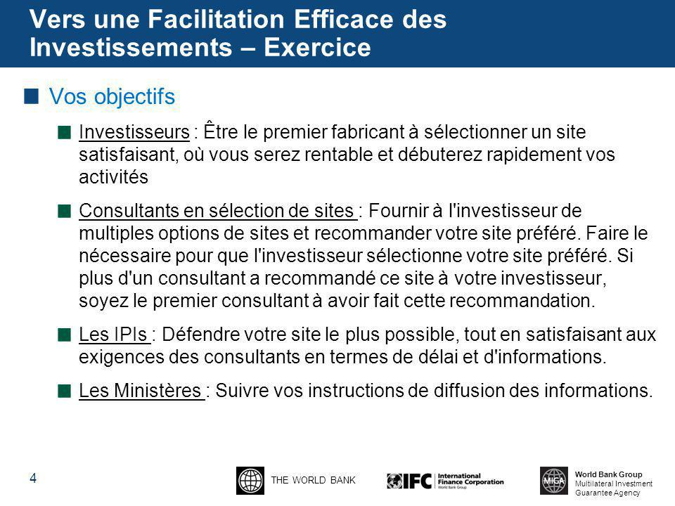 THE WORLD BANK World Bank Group Multilateral Investment Guarantee Agency Vers une Facilitation Efficace des Investissements – Exercice Vos objectifs I
