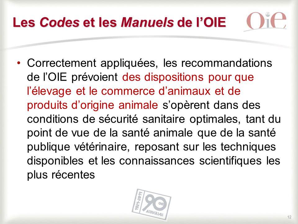 12 Correctement appliquées, les recommandations de l'OIE prévoient des dispositions pour que l'élevage et le commerce d'animaux et de produits d'origi