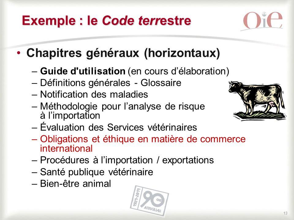 13 Chapitres généraux (horizontaux) –Guide d'utilisation (en cours d'élaboration) –Définitions générales - Glossaire –Notification des maladies –Métho