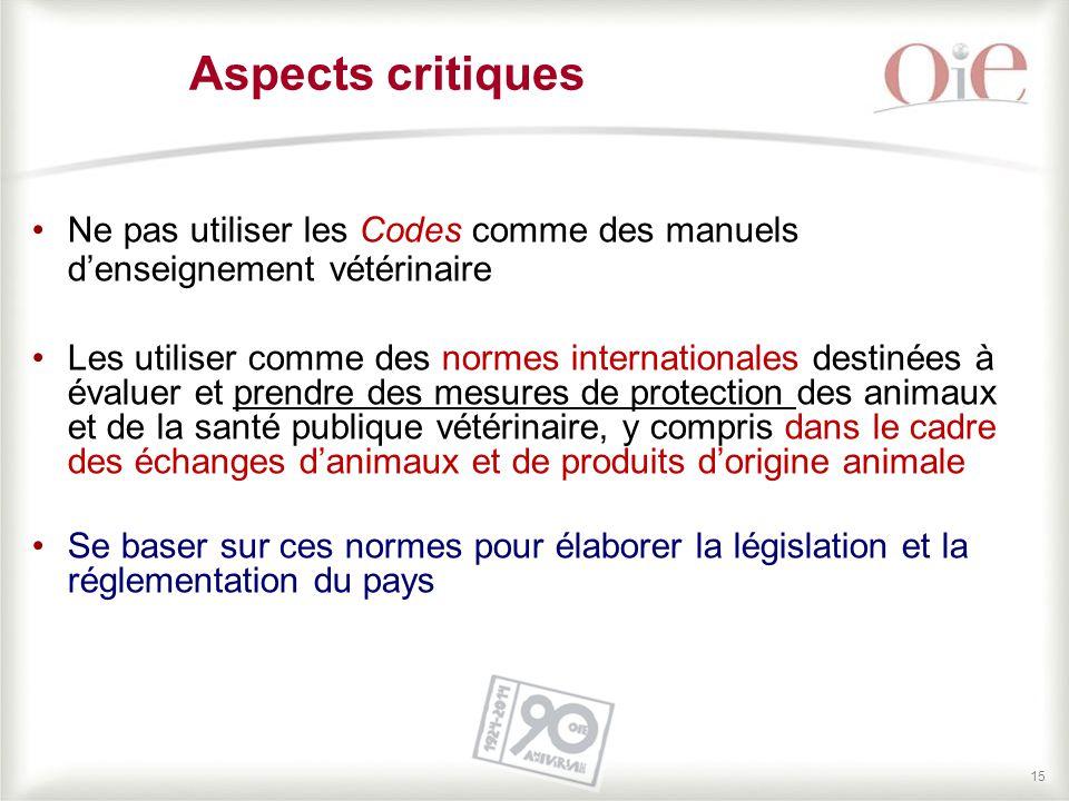 15 Ne pas utiliser les Codes comme des manuels d'enseignement vétérinaire Les utiliser comme des normes internationales destinées à évaluer et prendre