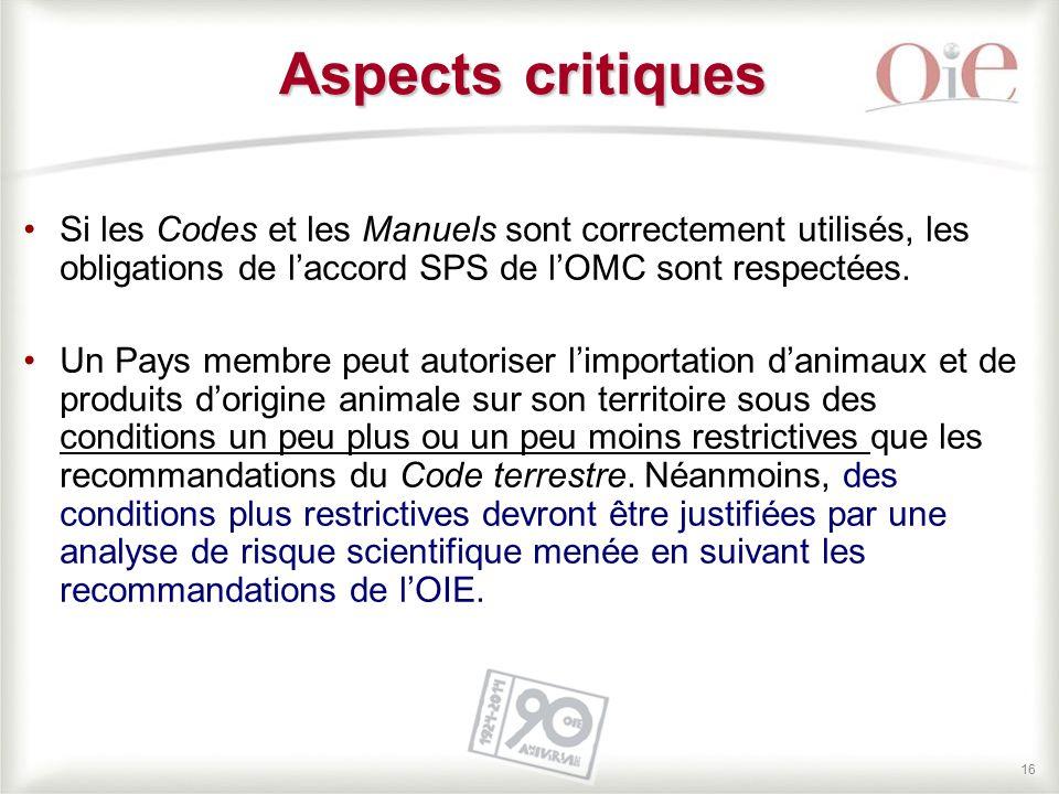 16 Si les Codes et les Manuels sont correctement utilisés, les obligations de l'accord SPS de l'OMC sont respectées. Un Pays membre peut autoriser l'i