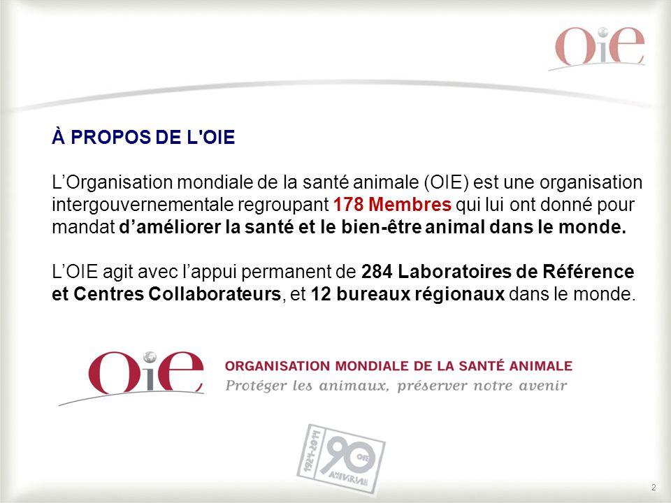 2 À PROPOS DE L'OIE L'Organisation mondiale de la santé animale (OIE) est une organisation intergouvernementale regroupant 178 Membres qui lui ont don