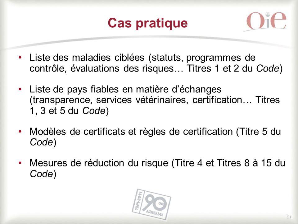 21 Cas pratique Liste des maladies ciblées (statuts, programmes de contrôle, évaluations des risques… Titres 1 et 2 du Code) Liste de pays fiables en