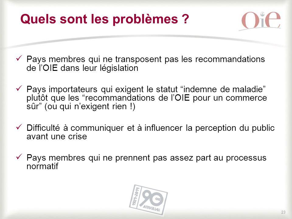 23 Quels sont les problèmes ? Pays membres qui ne transposent pas les recommandations de l'OIE dans leur législation Pays importateurs qui exigent le