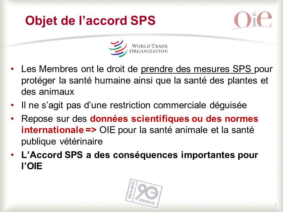 77 Objet de l'accord SPS Les Membres ont le droit de prendre des mesures SPS pour protéger la santé humaine ainsi que la santé des plantes et des anim