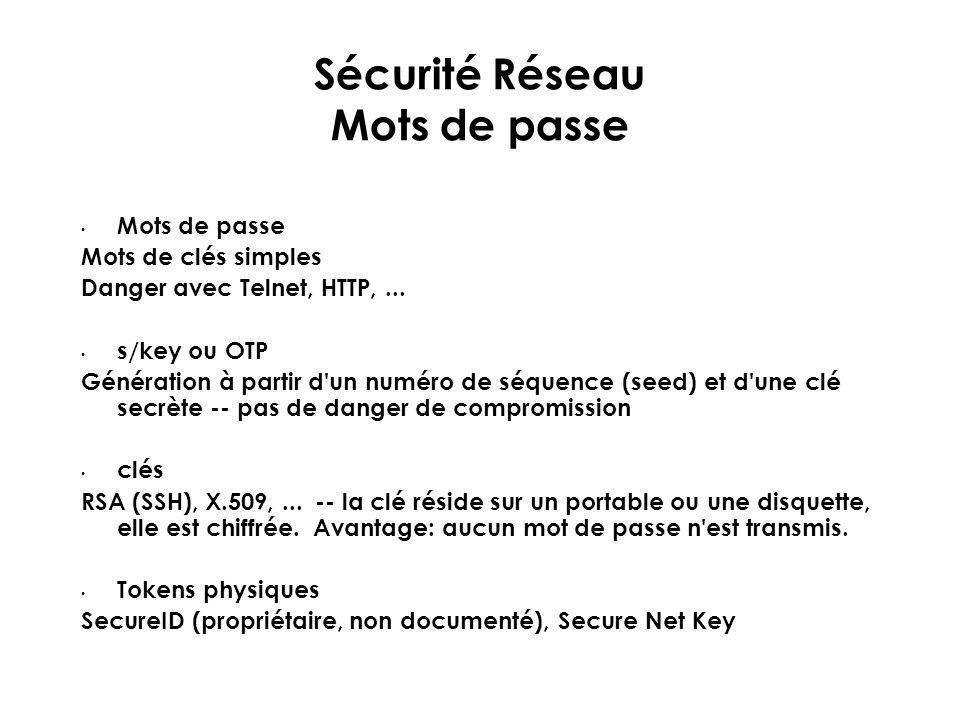 Sécurité Réseau Mots de passe Mots de passe Mots de clés simples Danger avec Telnet, HTTP,... s/key ou OTP Génération à partir d'un numéro de séquence