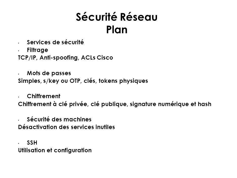 Sécurité Réseau Plan Services de sécurité Filtrage TCP/IP, Anti-spoofing, ACLs Cisco Mots de passes Simples, s/key ou OTP, clés, tokens physiques Chif