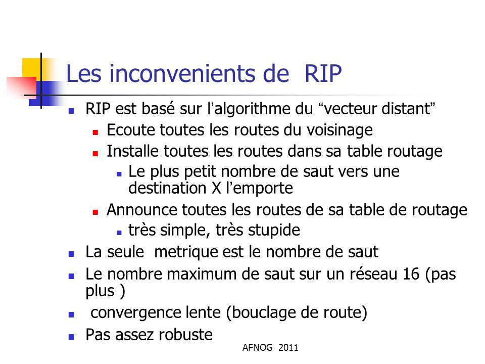 """AFNOG 2011 Les inconvenients de RIP RIP est basé sur l'algorithme du """"vecteur distant"""" Ecoute toutes les routes du voisinage Installe toutes les route"""
