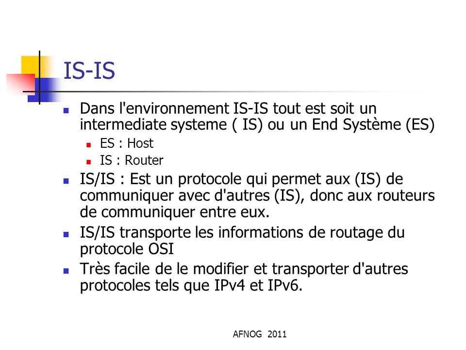 AFNOG 2011 IS-IS Dans l'environnement IS-IS tout est soit un intermediate systeme ( IS) ou un End Système (ES) ES : Host IS : Router IS/IS : Est un p