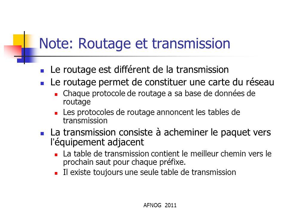 AFNOG 2011 Note: Routage et transmission Le routage est différent de la transmission Le routage permet de constituer une carte du réseau Chaque protoc