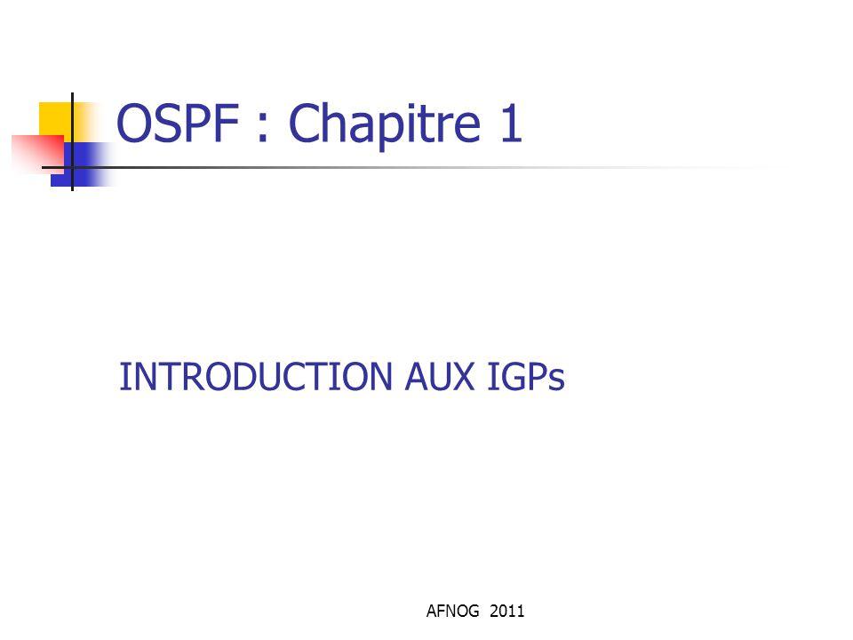 AFNOG 2011 OSPFv3 Introduction Les specifications du protocole sont publiées dans le RFC 2740 Link-state IGP ( cout tinterface additive) Principe de base identique à OSPF pour IPV4 Distribue les prefixes IPV6 IPv4/IPv6 OSPF fonctionne en ships in the night