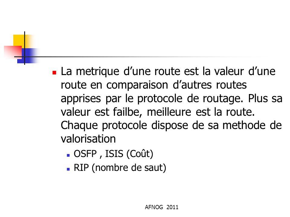 La metrique d'une route est la valeur d'une route en comparaison d'autres routes apprises par le protocole de routage. Plus sa valeur est failbe, meil
