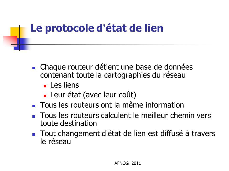 AFNOG 2011 Le protocole d'état de lien Chaque routeur détient une base de données contenant toute la cartographies du réseau Les liens Leur état (avec