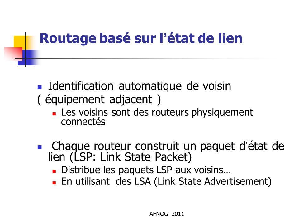 AFNOG 2011 Routage basé sur l'état de lien Identification automatique de voisin ( équipement adjacent ) Les voisins sont des routeurs physiquement co