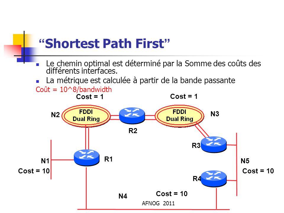 """AFNOG 2011 """"Shortest Path First"""" Le chemin optimal est déterminé par la Somme des coûts des différents interfaces. La métrique est calculée à partir d"""