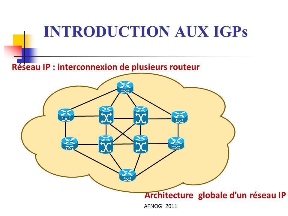AFNOG 2011 L'Algorithme OSPF Lorsqu'un changement survient : Le changement est annoncé à tous les voisins Tous les routeurs exécutent l'algorithme SPF en utilisant la nouvelle base de données Le protocole reste passive lorsque que réseau est stable Une mise à jour périodique des LSA chaque 30 minutes,dans le cas contraire, les mises à jour à chaque changement d'état du réseau