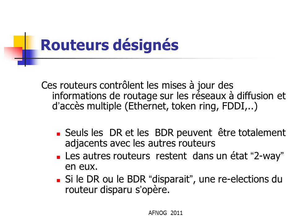 AFNOG 2011 Routeurs désignés Ces routeurs contrôlent les mises à jour des informations de routage sur les réseaux à diffusion et d'accès multiple (Eth