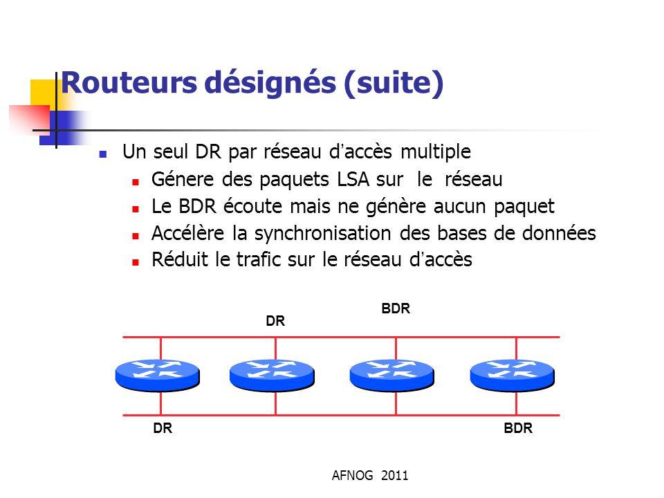 AFNOG 2011 Routeurs désignés (suite) Un seul DR par réseau d'accès multiple Génere des paquets LSA sur le réseau Le BDR écoute mais ne génère aucun p