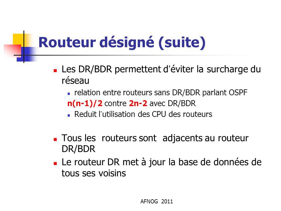 AFNOG 2011 Routeur désigné (suite) Les DR/BDR permettent d'éviter la surcharge du réseau relation entre routeurs sans DR/BDR parlant OSPF n(n-1)/2 co