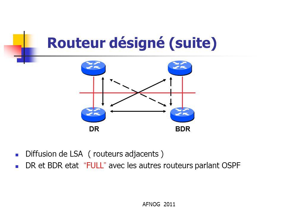 """AFNOG 2011 Routeur désigné (suite) Diffusion de LSA ( routeurs adjacents ) DR et BDR etat """"FULL"""" avec les autres routeurs parlant OSPF DRBDR"""