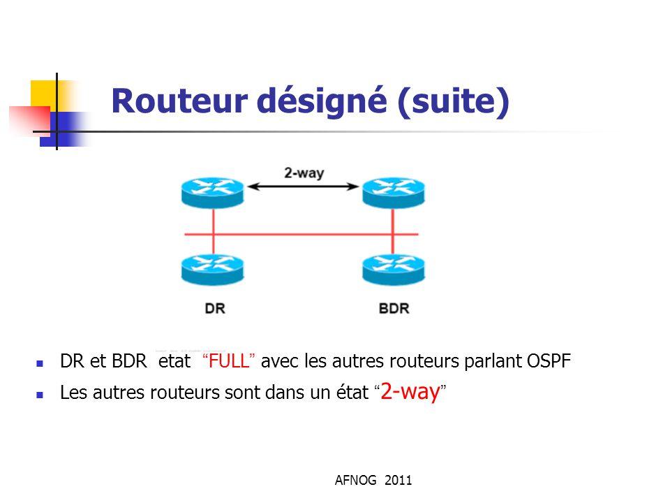 """AFNOG 2011 Routeur désigné (suite) DR et BDR etat """"FULL"""" avec les autres routeurs parlant OSPF Les autres routeurs sont dans un état """" 2-way """""""