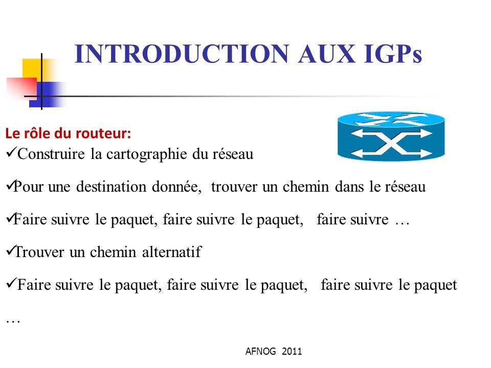 AFNOG 2011 INTRODUCTION AUX IGPs Protocole de Routage Comme toujours, pour qu une communication puisse s établir, chaque interlocuteur doit parler la même langue.