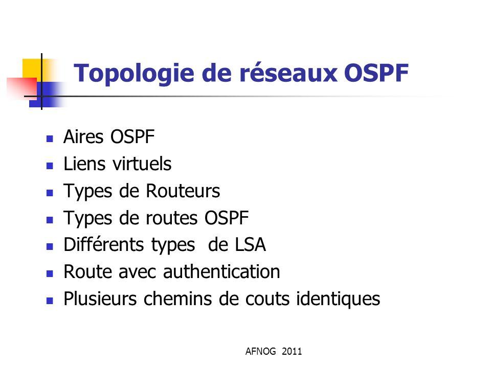 AFNOG 2011 Topologie de réseaux OSPF Aires OSPF Liens virtuels Types de Routeurs Types de routes OSPF Différents types de LSA Route avec authenticatio