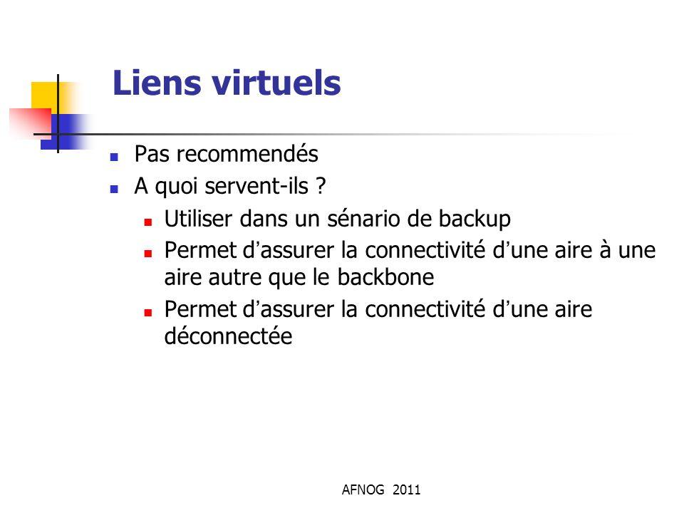 AFNOG 2011 Liens virtuels Pas recommendés A quoi servent-ils ? Utiliser dans un sénario de backup Permet d'assurer la connectivité d'une aire à une ai