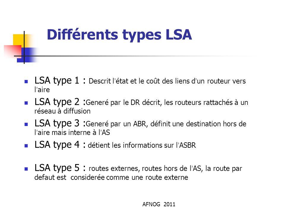 AFNOG 2011 Différents types LSA LSA type 1 : Descrit l'état et le coût des liens d'un routeur vers l'aire LSA type 2 : Generé par le DR décrit, les ro