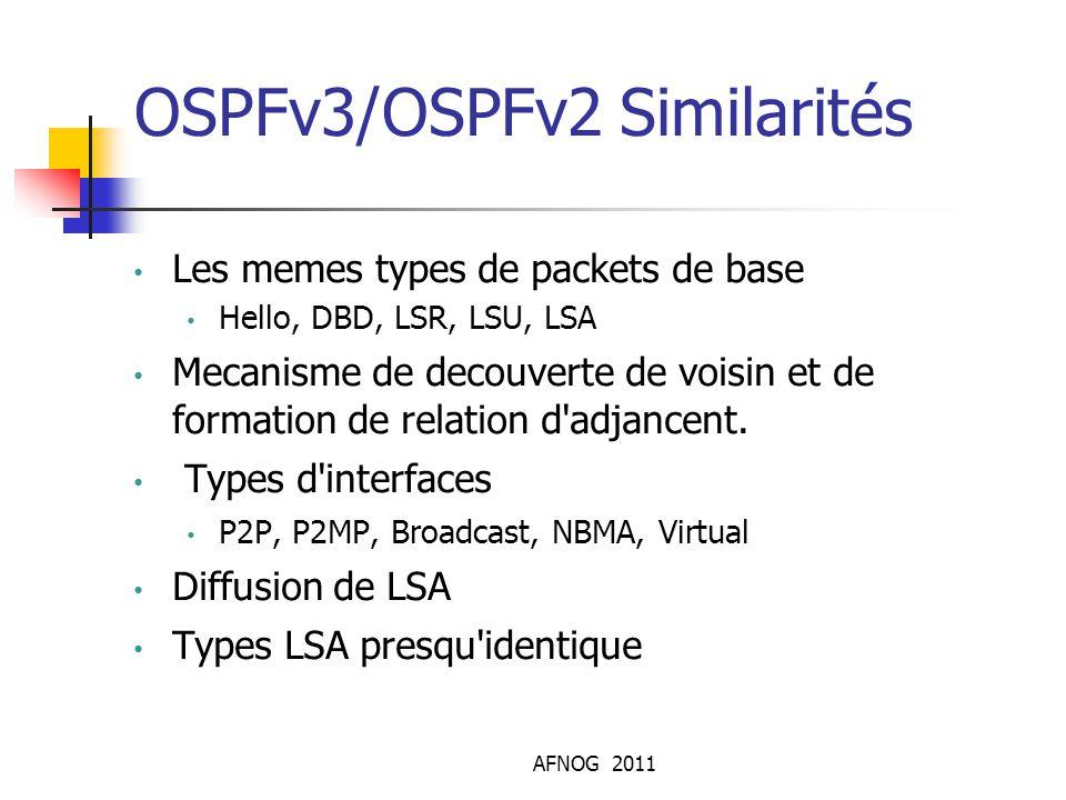 AFNOG 2011 OSPFv3/OSPFv2 Similarités Les memes types de packets de base Hello, DBD, LSR, LSU, LSA Mecanisme de decouverte de voisin et de formation de