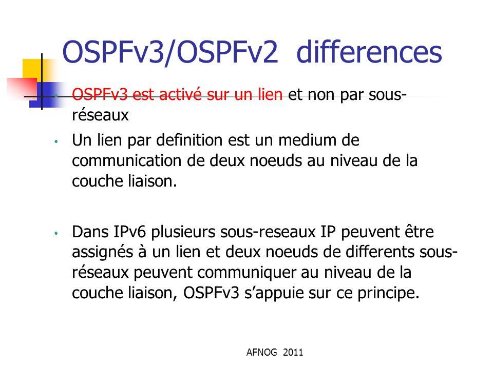 AFNOG 2011 OSPFv3/OSPFv2 differences OSPFv3 est activé sur un lien et non par sous- réseaux Un lien par definition est un medium de communication de d