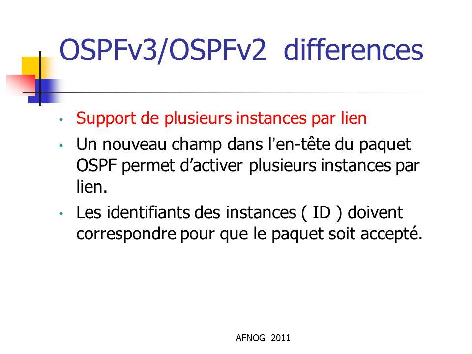 AFNOG 2011 OSPFv3/OSPFv2 differences Support de plusieurs instances par lien Un nouveau champ dans l'en-tête du paquet OSPF permet d'activer plusieurs